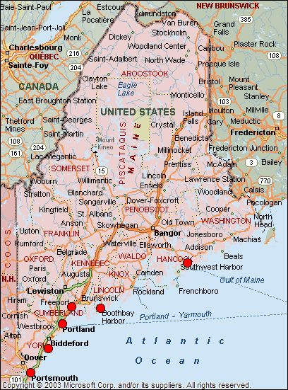 Map Of Lighthouses In Maine Lighthouse Name Or Icon For More - Maine cities map
