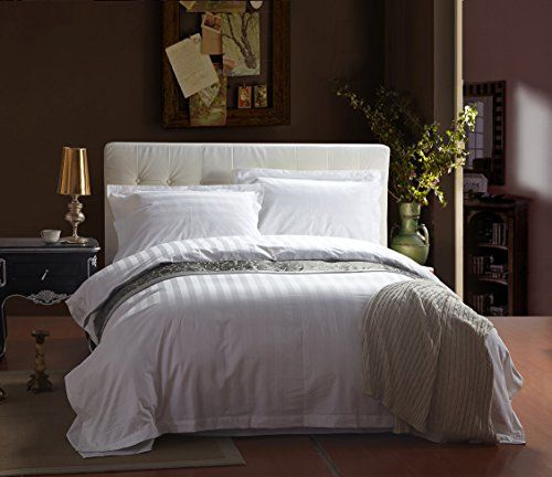 Hy 3 4pcs 100 Cotton 60s Sateen Fabric With 3cm Satin Stripe Bedding Sets Twin Full Queen Size White Ho Hotel Bedding Sets Duvet Bedding Sets Hotel Bed Sheets