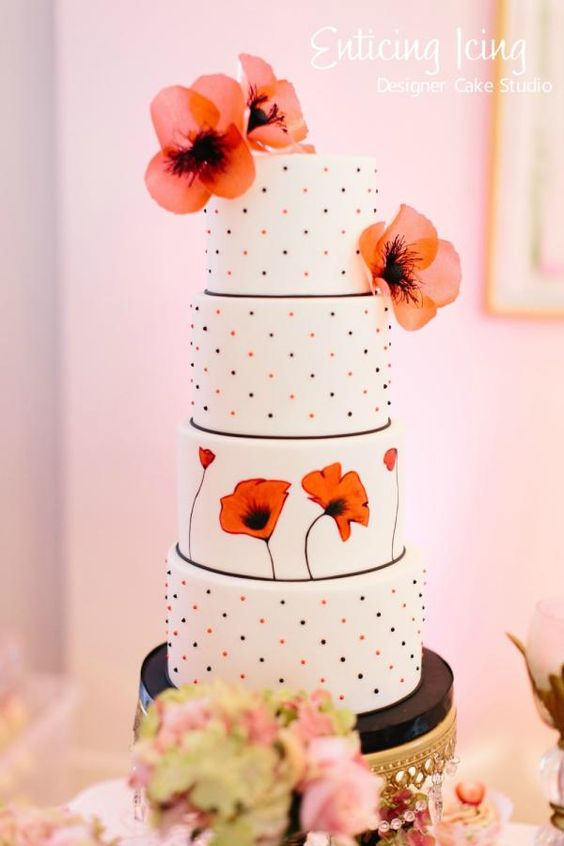Red Poppy cake - Cake by Enticing Icing - Designer Cake Studio