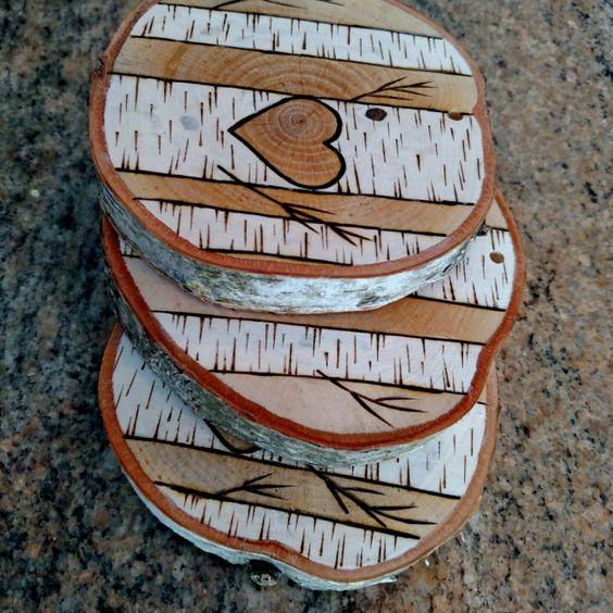 Custom wood burned white birch trees christmas ornament for White birch log crafts