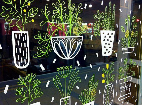 sarah abbott; window drawings; liquid chalk inspiration