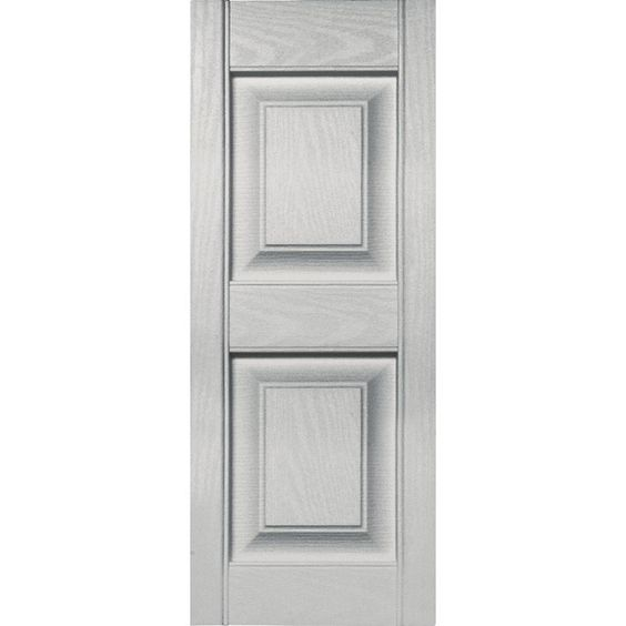 Builders Edge 12 In X 31 In Raised Panel Vinyl Exterior Shutters Pair In 030 Paintable 030120031030 The Home Depot Vinyl Exterior Shutters Exterior House Shutters