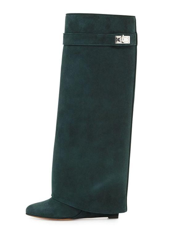 Dark Green Suede Twist Schnalle Wedge Stiefel