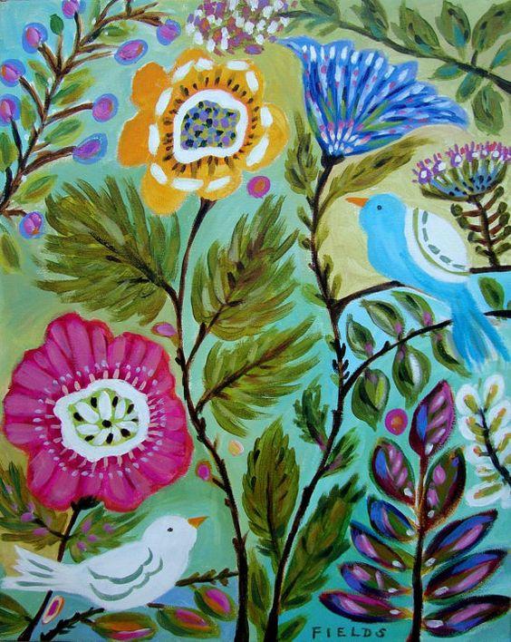Original Flowers Birds Painting by Karen by karenfieldsgallery, $100.00