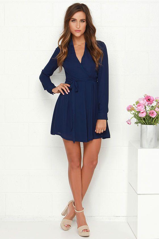 Tie- Tie Again Navy Blue Long Sleeve Wrap Dress - Wrap dresses ...