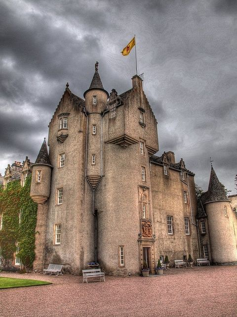 """Ballindalloch Castle, Scotland was built in 1546 - such a date was cut on the stone in one of bedrooms. The history of the castle is small, but full of lots of legends. It is said that the original intention was to build at a better site defensively, but when building commenced whatever was built in the day was thrown down at night. Eventually the laird, annoyed by the problem, heard a voice saying """"Build in the cow-haughs, and you will meet with no interruptions"""".He did so and was OK."""