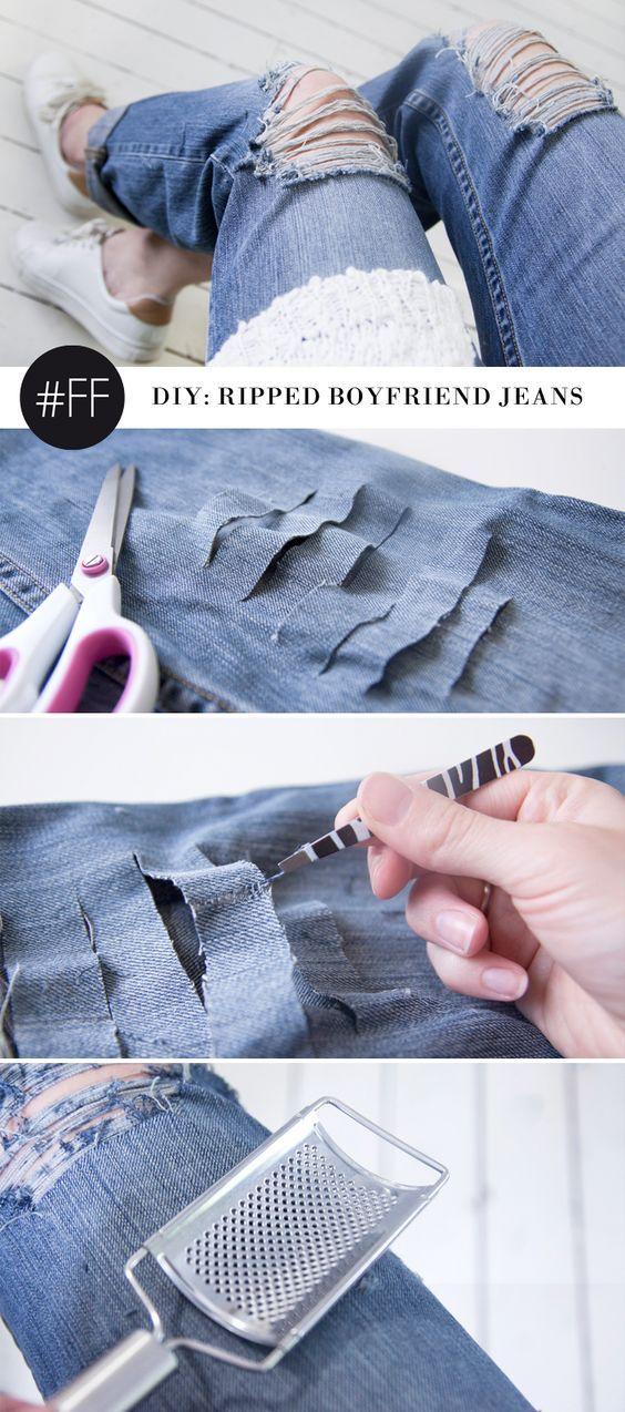 DIY ripped boyfriend jeans u2026 | Pinteresu2026