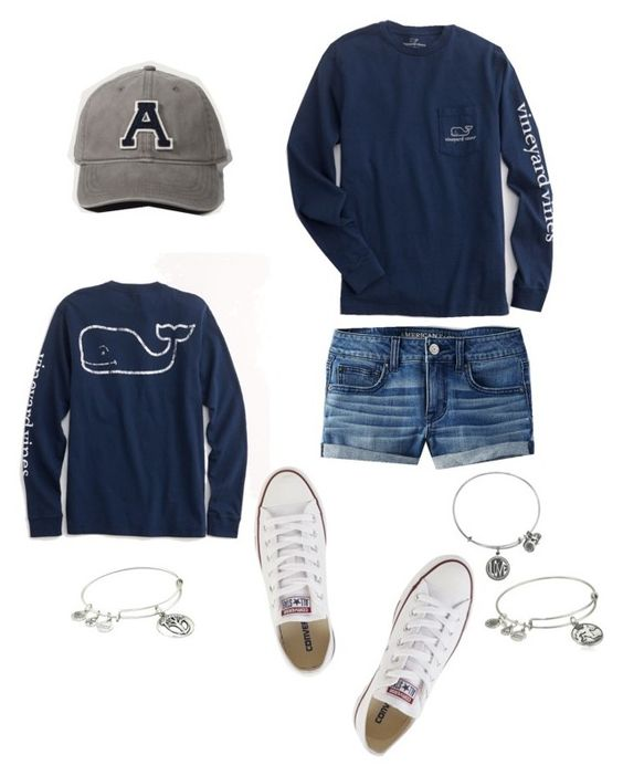 """Basic Outfit"" by ascottshop on Polyvore featuring American Eagle Outfitters, Vineyard Vines, Abercrombie & Fitch, Converse, Alex and Ani, women's clothing, women's fashion, women, female and woman"