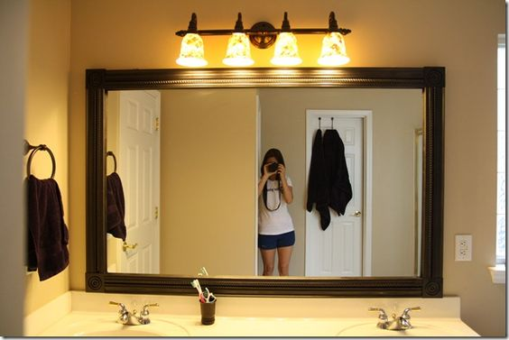 1000 Ideas About Mirror Border On Pinterest: Putting Molding Around Bathroom Mirror.