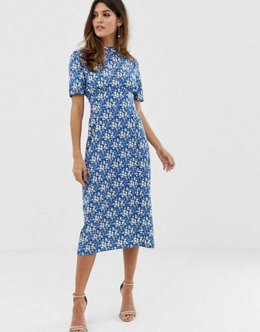 Asos Design Asos Design Midi Tea Dress With Buttons In Floral Print Modest Dresses Casual Tea Dress Modest Dresses