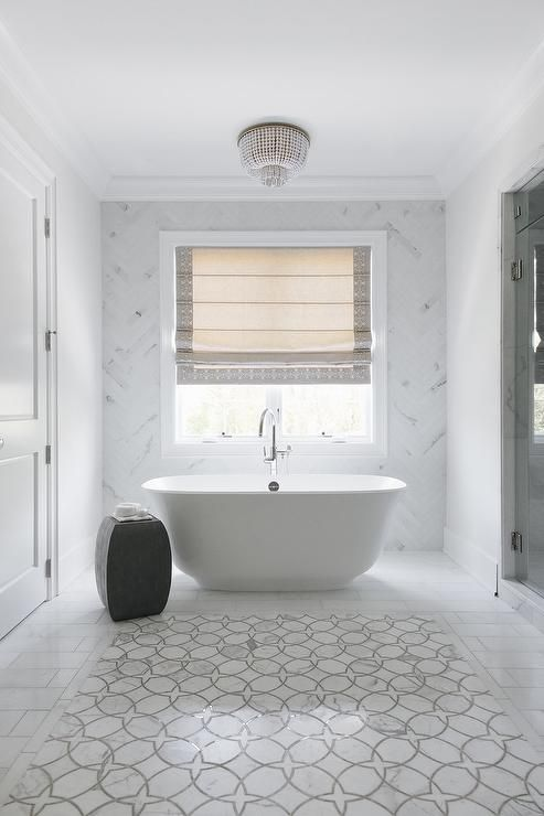 Framed By Staggered Marble Tiles White