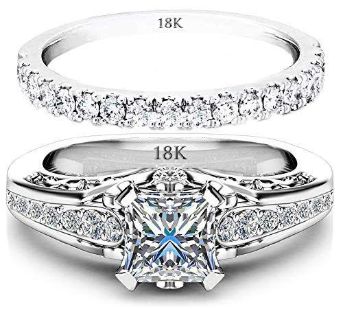 18K White Gold Wedding Engagement Band Set CZ Silver Womens Ladies Wedding Ring