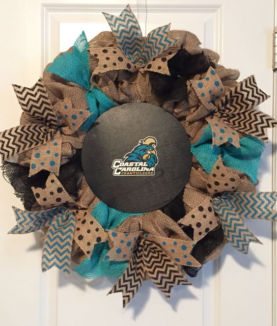 Coastal Carolina University burlap wreath