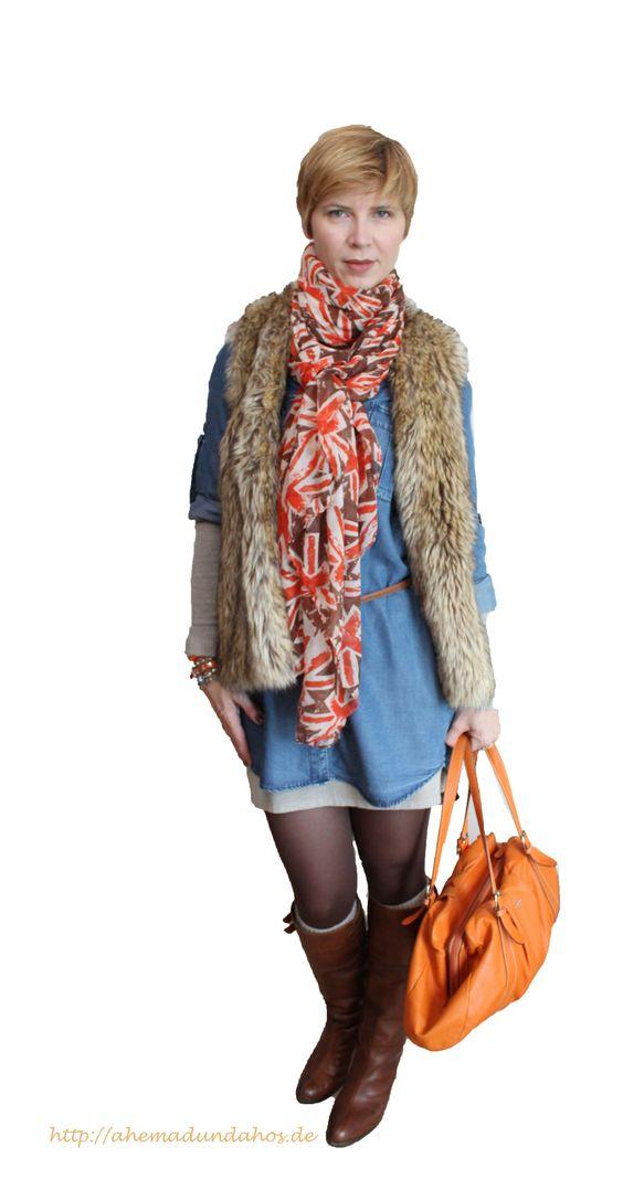 #Fake Fur #Jeans-Dress #boots http://ahemadundahos.de