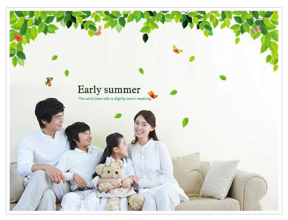 wall stickers - YYone Downward Leafs Early Summer Word Wall Sticker Living Room Bed Decor -