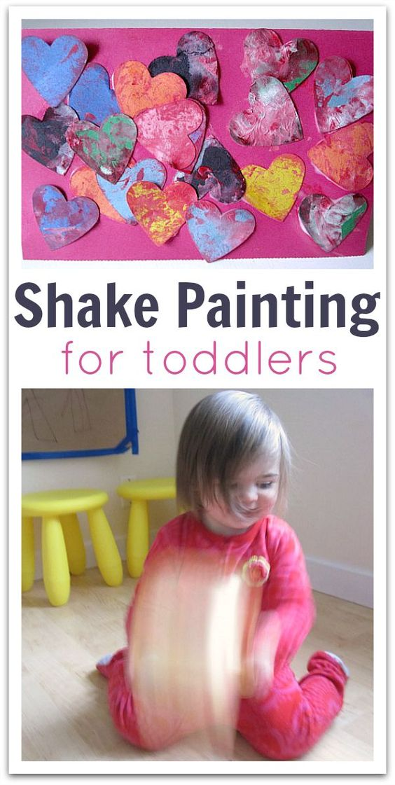 Shake painting hearts for Valentines Day - a great activity for toddlers