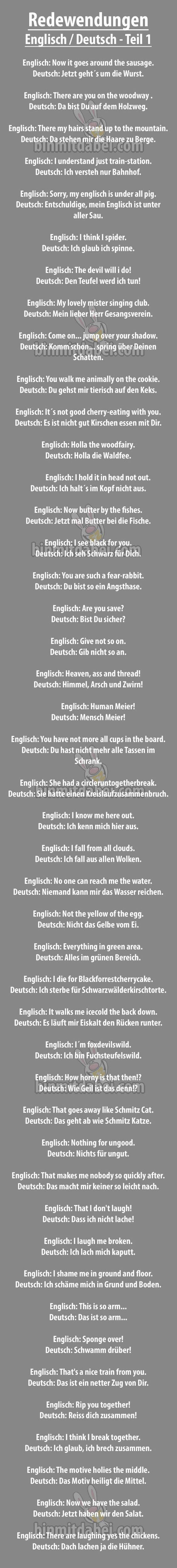 Übersetzung deutscher sprichwörter ins englische   lustiges