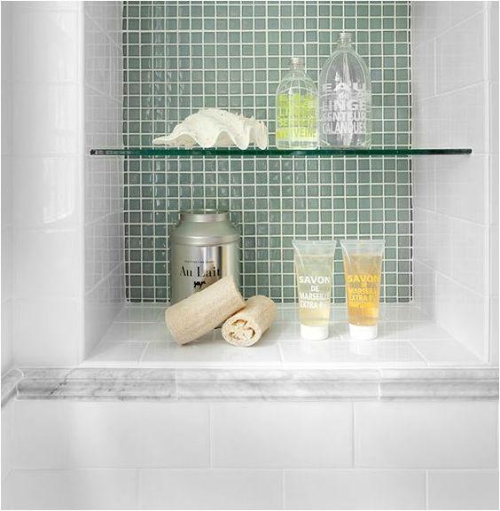 built in shower/bath nook