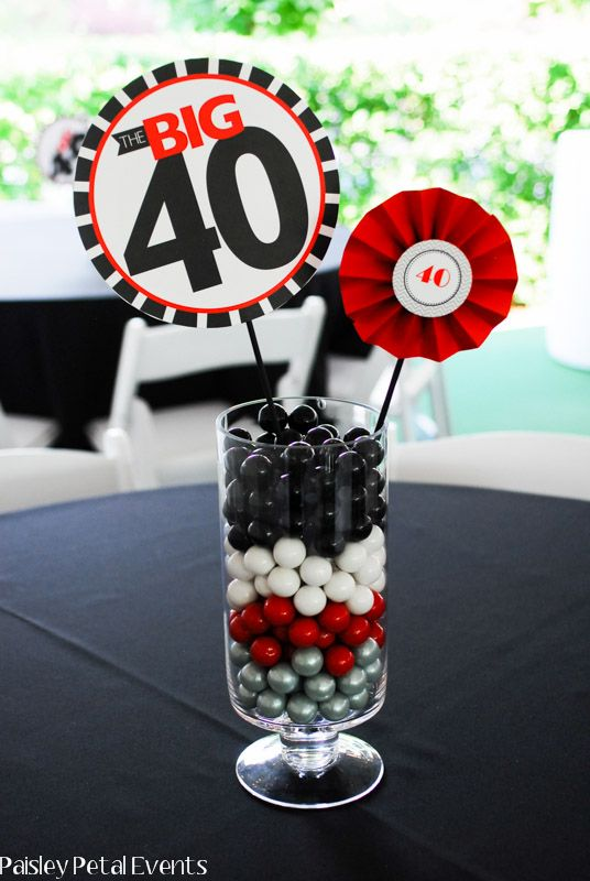 Easy 40th Birthday Party Centerpieces Using Jellybeans As The Base With Colorful Mini Round Fans Toppers