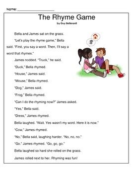 Bella and James are playing a rhyming game. When it's James turn ...