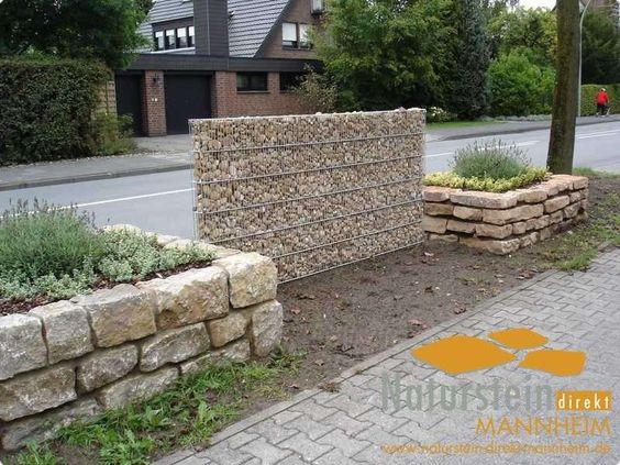 Gabionenwand als modernes Designelement Gabionenwand Pinterest - gartenabgrenzungen aus stein