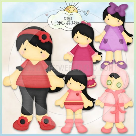 doll clip art | Paper Doll Girls 3 - Non-Exclusive Kristi Dailey Clip Art : Digi Web ...