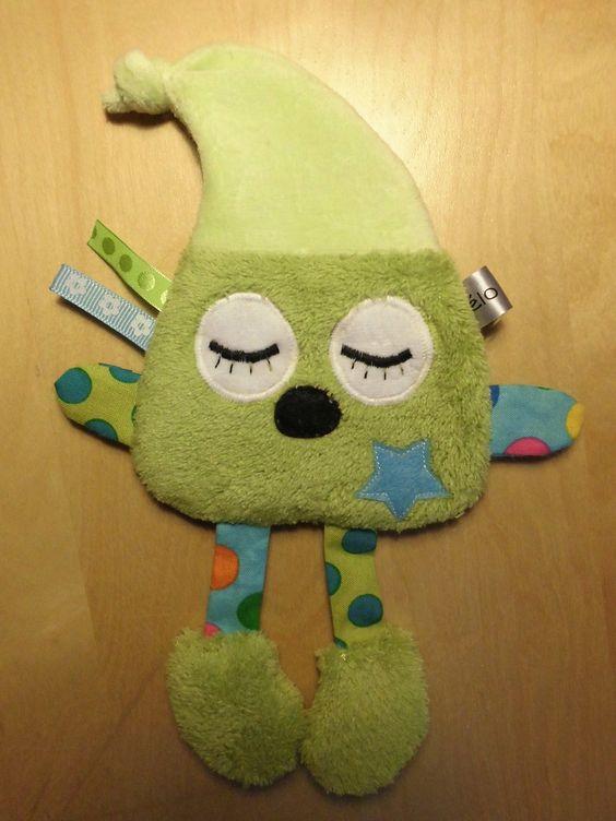 Doudou plat - lutin vert et bleu : Jeux, peluches, doudous par melomelie