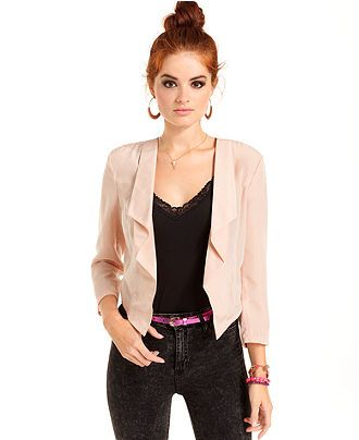 Ali & Kris Juniors Blazer, Three-Quarter Sleeve Ruffled ...