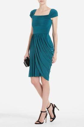 Buyosphere — MIKAELA CAP-SLEEVE ASYMMETRICAL DRAPED DRESS from bcbg.com