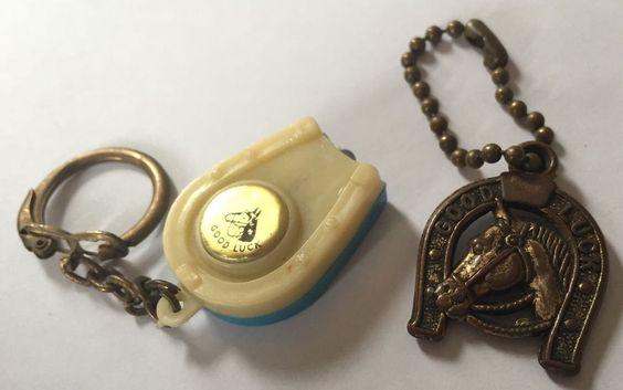 Vintage Good Luck Horseshoe Keychains Flashlight Horse | eBay