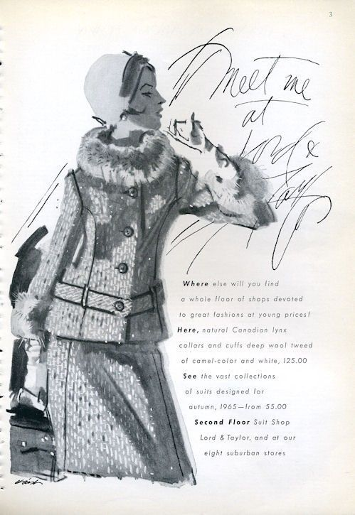 1965 Lord Taylor Fashion Wool and Canadian Lynx