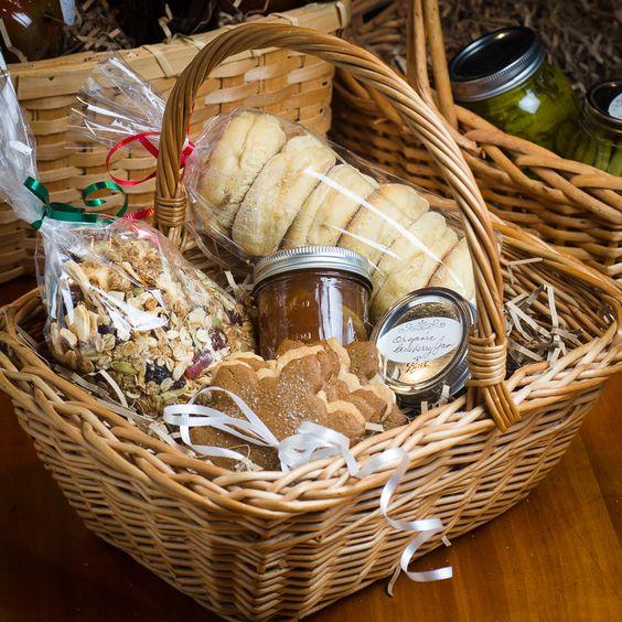 Prepare homemade breakfast basket - muffins, jams, coffee, granola, bagels, cream cheese, etc.: