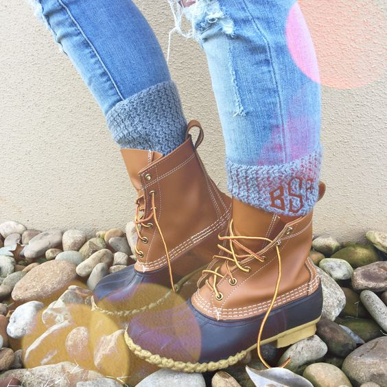 Monogrammed Boot Cuffs on Duck Boots- best. idea. ever.