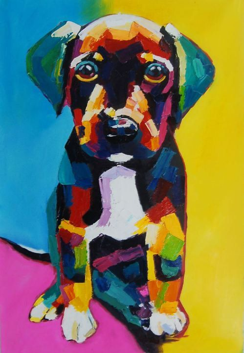 Large Pup Impasto Oil Painting