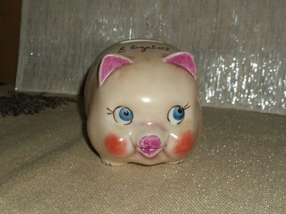 Vintage 1973 Elizabeth Personalized Porcelain Ceramic Pig Piggy Bank Gentle Use  $39.99 Ebay for sale