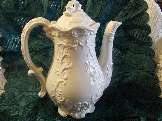 Vintage Tea Pot Porcelain Lacy White by VintageFairRetroRare, $22.00