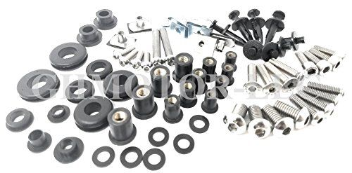 GHMotor Complete Fairings Bolts Screws Fasteners Kit Set Made in USA for 2002 2003 KAWASAKI ZX9R ZX-9R Black GHMotor-3017BX-bk