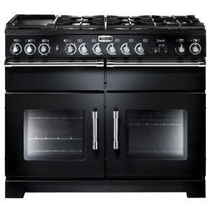 FALCON - EXL110DFBLC _ Piano de cuisson EXCEL 110 - Largeur 110 cm - 2 fours 69 L électrique multifonction dont 1 à chaleur tournante - Four séparé 29 L pour cuisson lente entre 100°C et 140 °C - Four grill barbecue avec plateau coulissant. Table de cuisson mixte comprenant : 5 brûleurs gaz dont 1 triple-couronne 3,5 kW et 1 multizone céramique de 1,1 kW avec une fonction chauffe-plat - Grille plancha amovible - Support pour wok - Porte-casserole en fonte - Coloris noir finition chrome