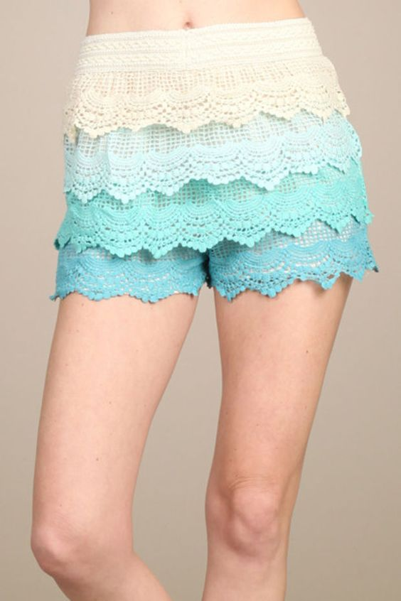 Ombre Print Crochet Lace Tier Layered High Waister Shorts