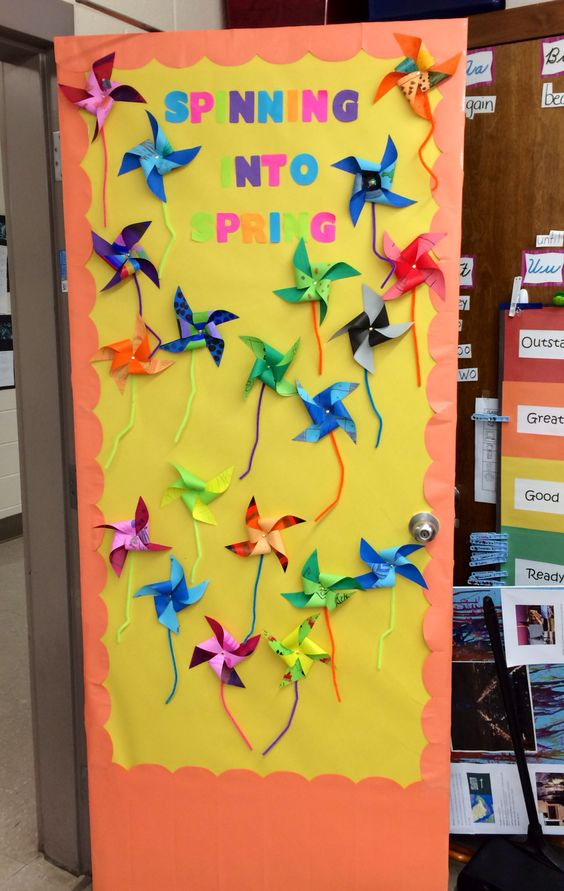Classroom Decoration Window : Spring classroom door decorations pinwheel