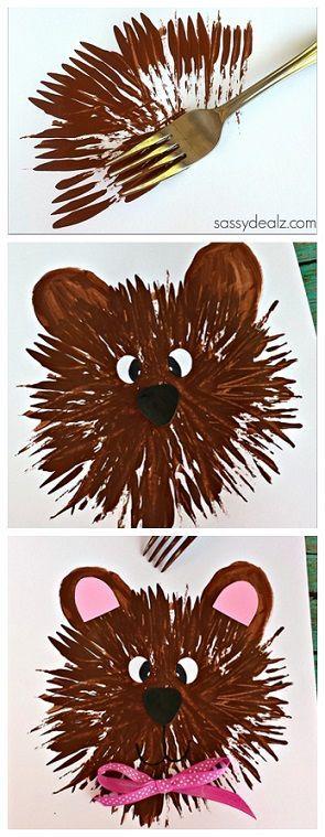 Bear Craft for Kids to Make Using a Fork! #TeddyBear   CraftyMorning.com