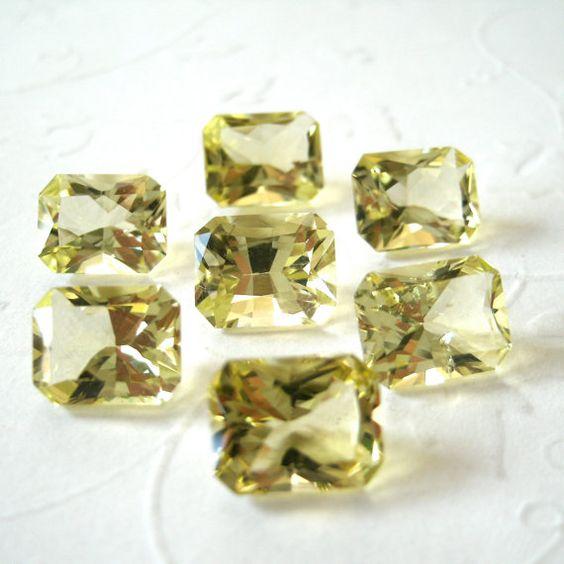 Faceted Gemstones Lemon Quartz Emerald Cut AAA by TigerBeadStore, $9.00