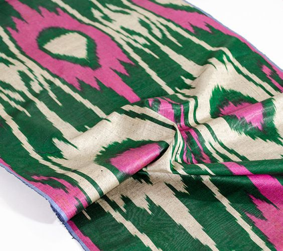 pink green ikat fabric by the yard ikat fabric ikat by SilkWay