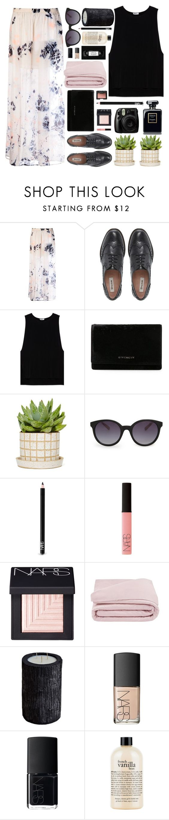 """""""maxiskirt."""" by untake-n ❤ liked on Polyvore featuring Raquel Allegra, Dune, Helmut Lang, Givenchy, MANGO, NARS Cosmetics, Frette, Vascolari and philosophy"""