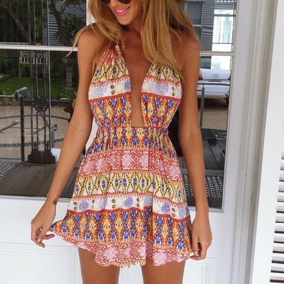 Vinny Aztec Print Mini Dress - The Wild Flower Shop   Feminine yet playful with a fresh look! This mini dress makes a fun outift companion. With a plunged neckline and bareback design, it's the perfect uptown stylish choice! • Halter neck • Elasticated waist Material: Cotton/Poly blend   $28