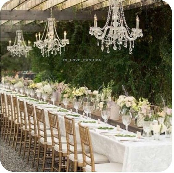 Vintage Garden Wedding Ideas: This Will Be A Dream Come True! Chandeliers Outdoors For