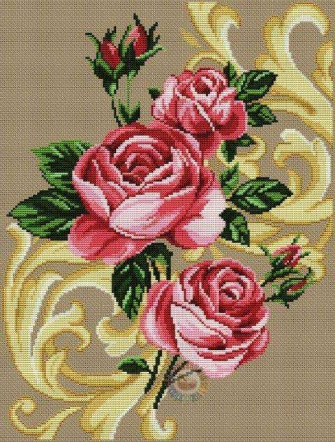 Вышивка.Розы (можно использовать для жаккарда ):