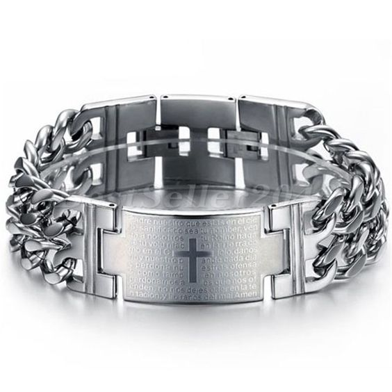 Charm groß Herren Edelstahl Armband Punk Bibel Kreuz Panzerarmband Armkette