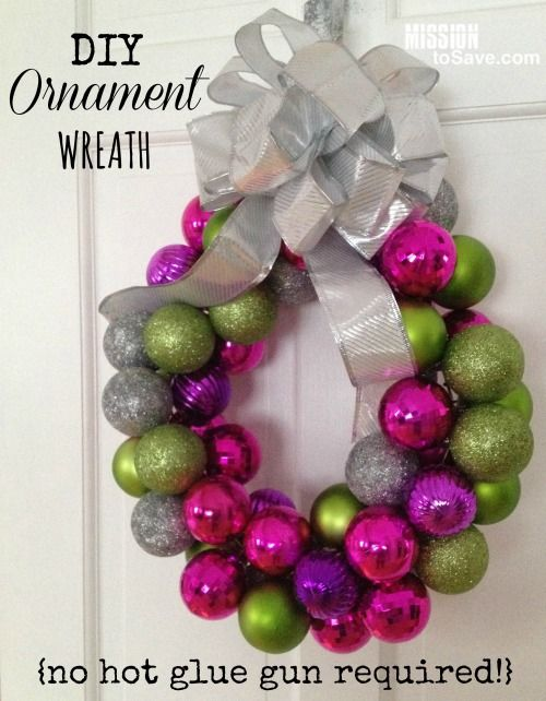Check out how to make this easy DIY Ornament Wreath this Christmas- and there's no hot glue gun required!