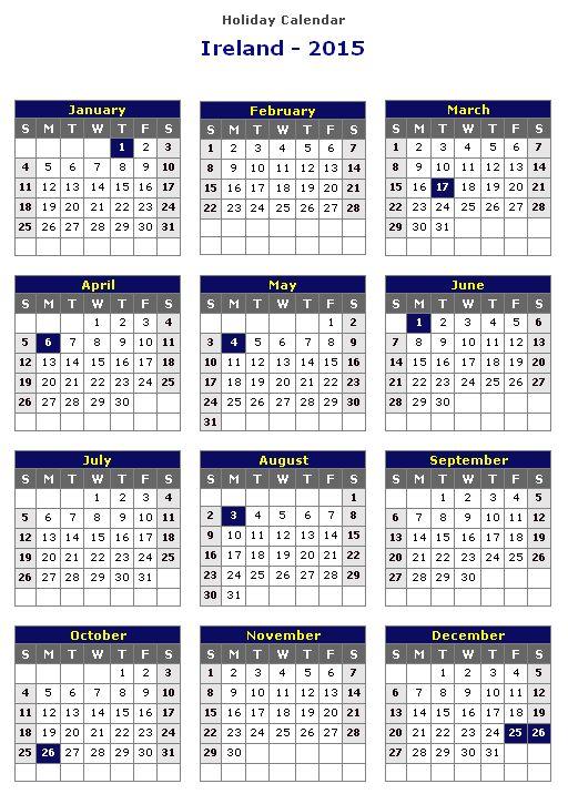 feriados irlandeses de 2015 Dubliando Pinterest Calendar - holiday calendar template
